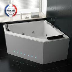 Duo Baignoire Balnéo d'angle whirlpool 31 jets. Balnéothérapie et chromothérapie s'invitent dans votre salle de bain pour un bien-être au quotidien sans bouger de chez vous! Que demander de plus?