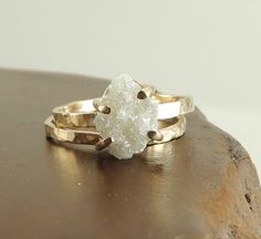 Rough Diamond 14k Gold Ring Prong Set Large by PointNoPointStudio, $1475.00