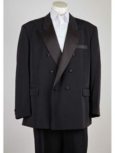Product#SM1013 Peak Lapel 6 Button Liquid Jet Black Double Breasted Closure Classic Fit Suit