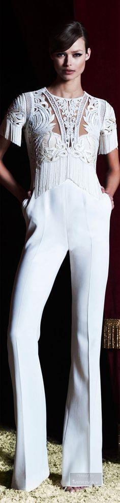 Zuhair Murad.Pre-Fall 2015 ❤︎† | from my board: https://www.pinterest.com/sclarkjordan/whites-pant-suits-casual/
