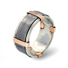 14K Rose Gold Men's Wedding Band, Sterling Silver Wedding Band for men, Stainless Steel Band, 9mm Wide Band