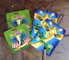 Animal Gift Tags with Colorful Art  Circus by ArtByIsadora on Etsy, #etsymnttsc