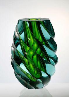 """The Května Glass Factory"" Emerald Decor Glass Vase in Emerald Green / Glass Art / Design / Home Decor / Blue-Green /"
