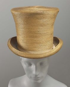 1820-1840, France - Man's top hat - Silk, straw, leather, with grosgrain hatbank