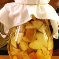1. Spală merele, taie-le cubulețe și pune-le (cu tot cu coajă și cotoare) într-un borcan, 2. Adaugă drojdia sfărâmată, drojdia si apa, acoperă și dă borcanul în loc întunecos și călduț vreme de două săptămâni. Din când în când, amestecă cu o lingură de lemn. 3. Strecoară merele printr-un tifon împăturit în mai multe …