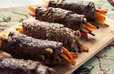 Balsamic Steak Rolls - I would probably try baking these instead of frying, but the just look so fancy and yummy! (and no ghee, of course)