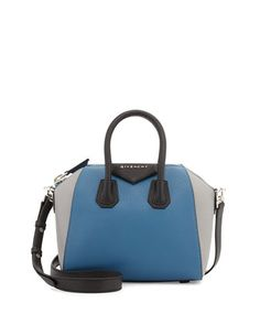 Antigona Mini Sugar Leather Satchel Bag, Blue/Multi by Givenchy at Bergdorf Goodman.