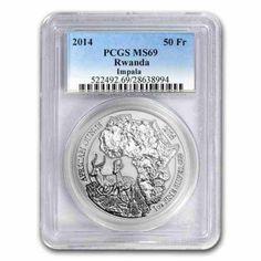 2014 Rwanda  IMPALA PROOF  1oz Silver Coin African Wildlife 50 Francs  ANTELOPE