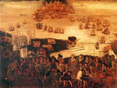 Queen Elizabeth I at Tilbury.  The Armada in the background