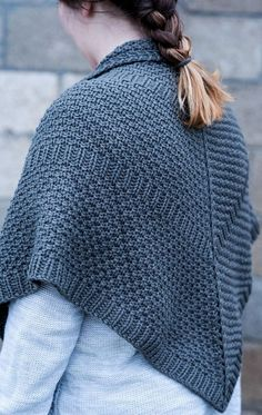 """Knitting Pattern Cindersmoke Shawl - Love the texture of this shawl! Knit in bulky yarn with simple, clean lines. Finished Blocked Dimensions: 57"""" wide X 27"""" depth"""