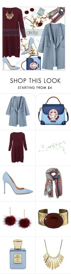 """Sweater Dress"" by dani-elan ❤ liked on Polyvore featuring Emini House, Repeat, Gianvito Rossi, MANGO, Orduna Design, Bella Bellissima and Lucky Brand"