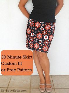 30 minute easy skirt pattern--I like this tutorial better than most others because it includes proper shaping between waist and hips, not just a tube. Easy Sewing Projects, Sewing Projects For Beginners, Sewing Hacks, Sewing Tutorials, Dress Tutorials, Sewing Ideas, Sewing Patterns Free, Free Sewing, Clothing Patterns