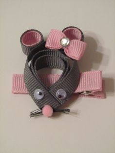 Cute Mouse Ribbon Sculpture Informations About Ri Ribbon Hair Clips, Ribbon Art, Ribbon Hair Bows, Diy Hair Bows, Ribbon Flower, Ribbon Sculpture, Hair Decorations, Diy Hair Accessories, Diy For Girls