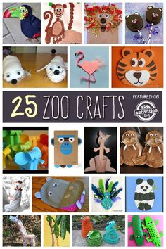 25 Amazing Zoo Crafts for kids! So many fun ideas from pandas, hippos, monkeys and tigers that are the perfect craft for preschool and kindergarten kids during a zoo unit! #zoounit #animalcrafts