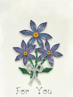 For you quilled floral greeting card blue purple by szalonaisa, $8.50