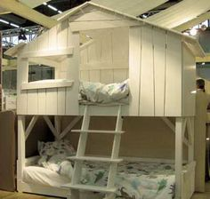 This is a creative bedroom design for a kids room. Try giving your kid a beautiful white tree house bunk beds. This is great for kids who share a room! Dream Bedroom, Kids Bedroom, Kids Rooms, Bedroom Ideas, Creative Beds, Bunk Bed Designs, Kids Bunk Beds, Childrens Room Decor, Kids Room Design