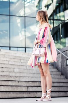 rainbow dress by chloé, lace up ribbon ballet flats in pink, pink rebecca minkoff micro moto bag, pastel look - Streetstye, Hamburg, Blogger, Outfit
