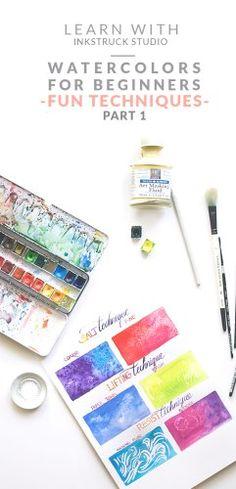 Learn fun and easy beginner watercolor techniques for beginners using salt,paper towel and masking fluid in this post- Zakkiya Hamza | Inkstruck Studio