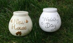 WEDDING DAY Money box piggy bank NEW house Hand painted ceramic pottery white cream glitter savings hopes and dreams Gift - pinned by pin4etsy.com
