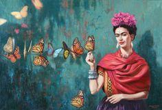 15 Famosas E Inspiradoras Frases De Frida Kahlo Que Te Motivarán A Sentirte Empoderada Art And Illustration, Frida E Diego, Frida Art, Frida Kahlo Artwork, Diego Rivera, Butterfly Painting, Butterfly Bedroom, Butterfly Canvas, Inspiration Art