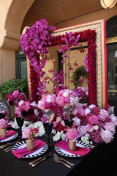 purple, bright pink and fuchsia wedding tablescape