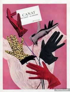Canat gloves ad, 1954. #vintage #1950s #gloves #ads