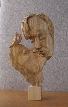 Kiss  Wood sculpture hand carving by WoodSculptureLodge on Etsy
