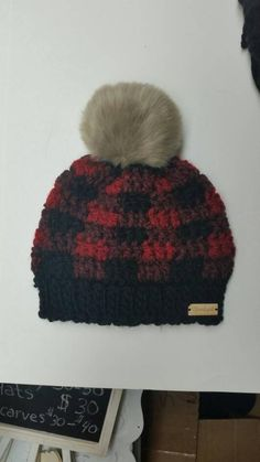 aa606f9be75 Red and black plaid hat with faux fur pompom. Order any size or colour.  Winter touque