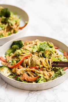 Peanut Zoodles with Grilled Broccoli