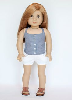 American girl doll chambray endless summer halter top with buttons