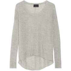 Line The Wayward cashmere sweater ($110) ❤ liked on Polyvore featuring tops, sweaters, shirts, long sleeves, light gray, line sweaters, ribbed sweater, cashmere shirt, loose sweaters and cashmere sweater