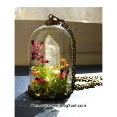Miniature terrarium pendant Real Heather necklace door phoenixchiu