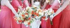 Coral wedding Bridesmaid Dresses, Wedding Dresses, Florals, Wedding Flowers, Fashion, Bridesmade Dresses, Bride Dresses, Floral, Moda