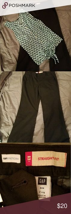 EUC GAP black dress pants and WISHFUL PARK BLOUSE EUC GAP stretch dress pants and EUC WISHFUL PARK BLOUSE in soft green with black chevron stripes. The blouse is 100% polyester made in China. The pants are 64% polyester 33% rayon and 3% spandex! Very soft and comfortable.  Blouse and pants no rips, tears or stains and come from a smoke free home These can be sold separately! GAP Tops Blouses