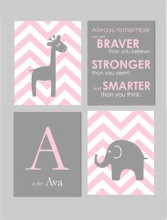 "Pink and Grey Nursery Baby Girl Nursery Pink and Gray Winnie the Pooh Quote Elephant Nursery Art for Nursery Chevron 8""x10"" Prints"