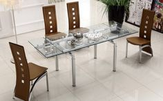 AtHome DT103 + DC228 Diningroom Set - Enjoy your home living space more with an At-Home D103L Dining Room Table to bring beauty and ambiance to any contemporary or modern dining room. This D103L Dining Room Table is also available with a Black glass top. The D103L Clear Dining Room Table Features a modern extend-able table and tempered clear glass.  Size :  Dining Table : 55 / 78.5 x 31.5 x 29.5  Dining Chair: 24 x 17.5 x 41.5