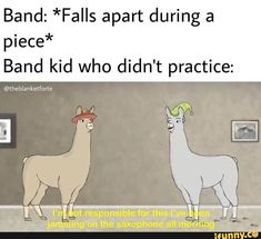 Band: *Falls apart during a piece* Band kid who didn't practice: - iFunny :) Funny Band Memes, Kid Memes, Stupid Funny Memes, Funny Relatable Memes, Marching Band Jokes, Marching Band Problems, Flute Problems, Music Jokes, Music Humor