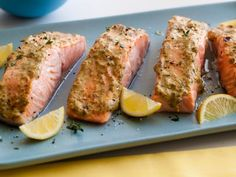 Broiled Salmon with Herb Mustard Glaze Recipe : Giada De Laurentiis : Food Network Salmon Dishes, Fish Dishes, Seafood Dishes, Salmon Recipes, Fish Recipes, Seafood Recipes, Soup Recipes, Dinner Recipes, Food Network Recipes