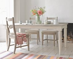 Baker Boy is our farmhouse style kitchen table. It has a beautiful beached timber finish & the legs are finished in an off-white heritage paint. Scrummy!