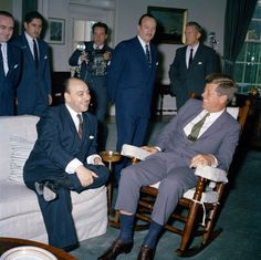 36 Stunning Color Photos Of The Kennedy White House Kennedy showing some skin with the president of Chile.