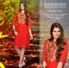 Simply a fashionista's delight. Ekakanya brings for you modern and grogeous collection of Kurtis.... compliments the season perfectly