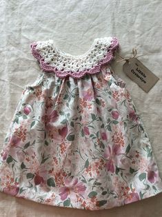 Items similar to Baby Dress/Sundress /Floral Dress/ Detachable Crochet Collar /Cotton Lawn/Cotton Crochet Collar / Baby Shower Gift mths on Etsy Crochet Dress Girl, Crochet Girls, Crochet Baby Clothes, Crochet Shoes, Frock Patterns, Rose Clothing, Diy Dress, Little Girl Dresses, Toddler Dress