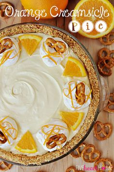 Frozen Orange Creamsicle Pie with Pretzel Crust from FiveHeartHome.com! #recipes #dessert #pie