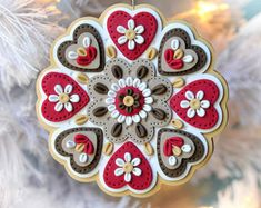 Handcrafted Polymer Clay Ornament by Kay Miller on Etsy - Mary's Note: Find more in - Ornaments Kay Miller board Polymer Clay Kunst, Fimo Clay, Polymer Clay Projects, Polymer Clay Creations, Clay Crafts, Polymer Clay Ornaments, Polymer Clay Charms, Polymer Clay Jewelry, Polymer Clay Christmas