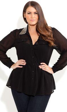 City Chic - BEADED COLLAR SHIRT - Women's plus size fashion