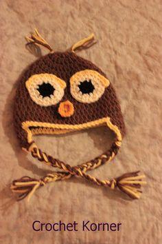 Crochet Korner Crochet Owl Hat by CrochetKorner on Etsy, $20.00