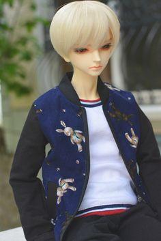 (Y80) baseball raglan jacket teddy bear pattern red blue versions