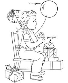 Learning Colors Coloring pages | Birthday Presents