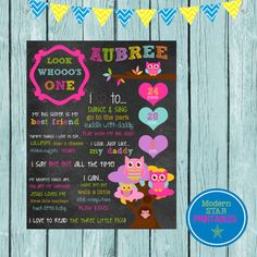 Girly Owl themed birthday customized chalkboard printable on Etsy, $12.00