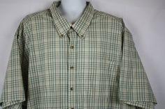 Harbor-Bay-Mens-Short-Sleeve-Tan-Green-Plaid-Button-Collar-Front-Shirt-Size-5XL